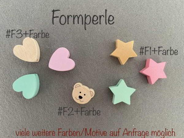 Formperle handmade und personalisiert aus Holz mit Namen für Jungen und Mädchen