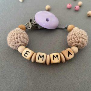 Personalisierte Schnullerkette mit Namen aus Holz für Mädchen Emma