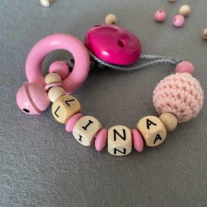 Personalisierte Schnullerkette mit Namen aus Holz für Mädchen Lina